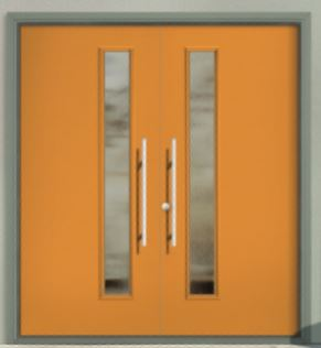 Modern Style Off-Set Glass Fiberglass Door